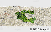 Satellite Panoramic Map of Vi Xuyen, shaded relief outside