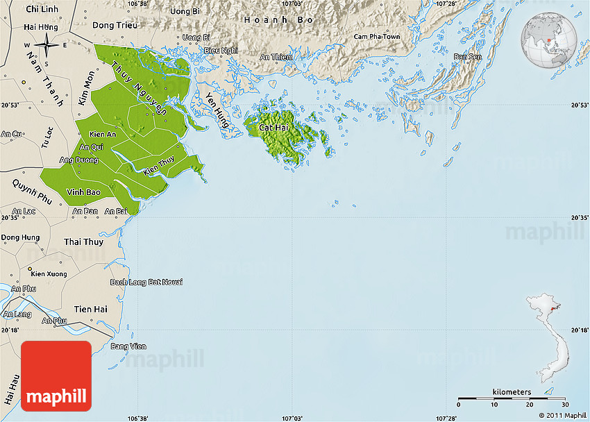 Haiphong Vietnam Map.Physical Map Of Hai Phong Shaded Relief Outside