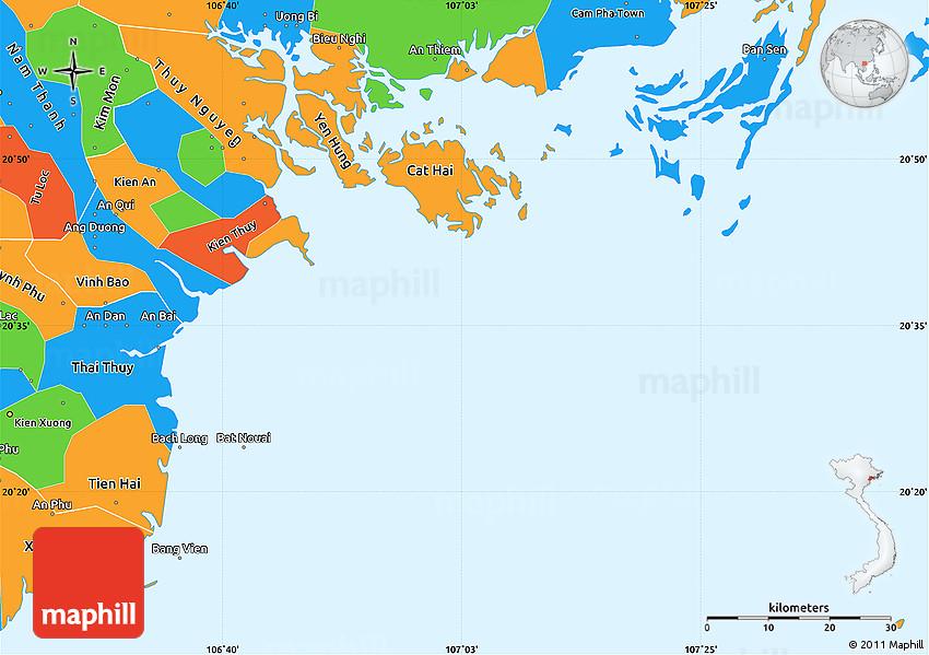 Haiphong Vietnam Map.Political Simple Map Of Hai Phong