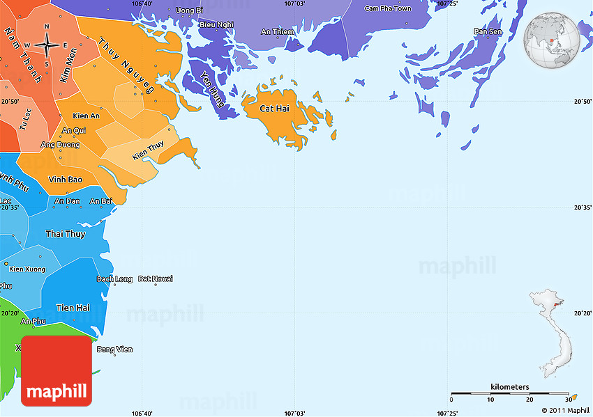 Haiphong Vietnam Map.Political Shades Simple Map Of Hai Phong