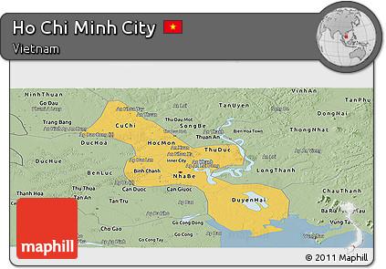 Savanna Style Panoramic Map of Ho Chi Minh City