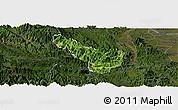Satellite Panoramic Map of Da Bac, darken