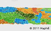 Satellite Panoramic Map of Da Bac, political outside