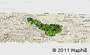 Satellite Panoramic Map of Da Bac, shaded relief outside