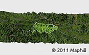 Satellite Panoramic Map of Mai Chau, darken