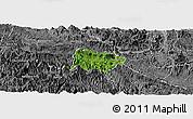 Satellite Panoramic Map of Mai Chau, desaturated