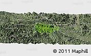 Satellite Panoramic Map of Mai Chau, semi-desaturated