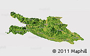 Satellite Panoramic Map of Hoa Binh, cropped outside