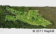 Satellite Panoramic Map of Hoa Binh, darken