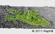 Satellite Panoramic Map of Hoa Binh, desaturated