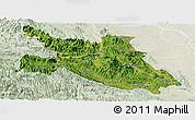 Satellite Panoramic Map of Hoa Binh, lighten