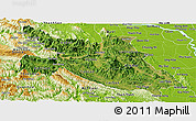 Satellite Panoramic Map of Hoa Binh, physical outside