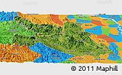 Satellite Panoramic Map of Hoa Binh, political outside
