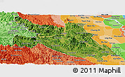 Satellite Panoramic Map of Hoa Binh, political shades outside