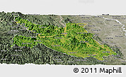 Satellite Panoramic Map of Hoa Binh, semi-desaturated