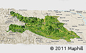 Satellite Panoramic Map of Hoa Binh, shaded relief outside