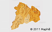 Political Shades 3D Map of Kon Tum, cropped outside
