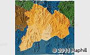 Political Shades 3D Map of Kon Tum, darken