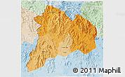 Political Shades 3D Map of Kon Tum, lighten