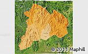 Political Shades 3D Map of Kon Tum, satellite outside