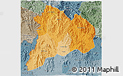 Political Shades 3D Map of Kon Tum, semi-desaturated