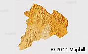 Political Shades 3D Map of Kon Tum, single color outside