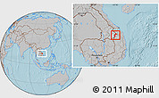 Gray Location Map of Dac Glay, hill shading