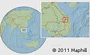 Savanna Style Location Map of Dac Glay, hill shading
