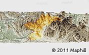 Physical Panoramic Map of Dac Glay, semi-desaturated
