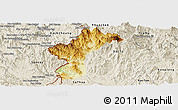 Physical Panoramic Map of Dac Glay, shaded relief outside