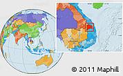 Political Location Map of Kon Tum
