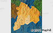Political Shades Map of Kon Tum, darken