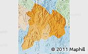 Political Shades Map of Kon Tum, lighten