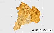 Political Shades Map of Kon Tum, single color outside