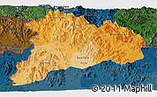 Political Shades Panoramic Map of Kon Tum, darken
