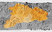 Political Shades Panoramic Map of Kon Tum, desaturated