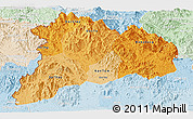 Political Shades Panoramic Map of Kon Tum, lighten