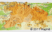 Political Shades Panoramic Map of Kon Tum, physical outside