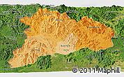 Political Shades Panoramic Map of Kon Tum, satellite outside