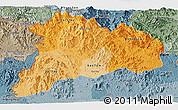 Political Shades Panoramic Map of Kon Tum, semi-desaturated
