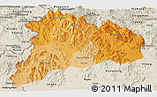 Political Shades Panoramic Map of Kon Tum, shaded relief outside