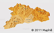 Political Shades Panoramic Map of Kon Tum, single color outside