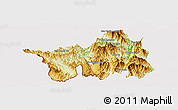 Physical Panoramic Map of Muong Lay, cropped outside