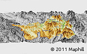 Physical Panoramic Map of Muong Lay, desaturated