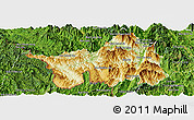 Physical Panoramic Map of Muong Lay, satellite outside