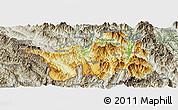 Physical Panoramic Map of Muong Lay, semi-desaturated