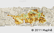 Physical Panoramic Map of Muong Lay, shaded relief outside