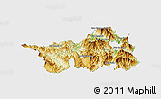 Physical Panoramic Map of Muong Lay, single color outside