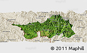 Satellite Panoramic Map of Muong Lay, shaded relief outside