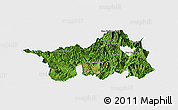 Satellite Panoramic Map of Muong Lay, single color outside